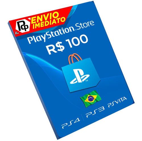 Cartão Playstation Plus R$100 Reais Psn Br Brasil