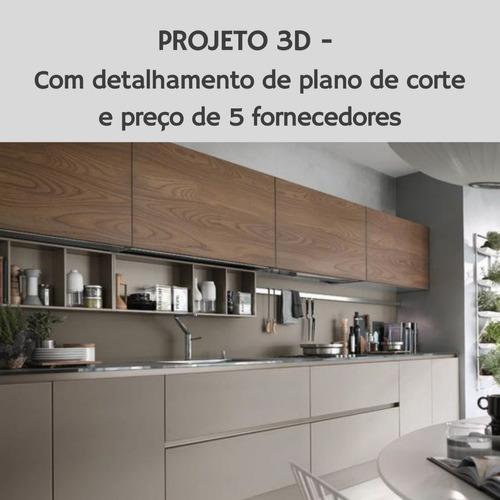 Cozinha | Projeto 3d -  Com Detalhamento De Plano De Corte