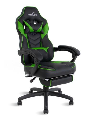 Cadeira Gamer Reclinável  Alien Healer Preto/verde