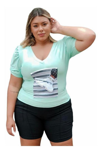 Camiseta T- Shirts Estampada Feminina Plus Size Gg