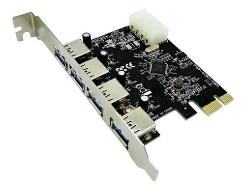 Placa Pci-e Com 4 Portas Externas Usb 3.0 5gbps Pc Desktop