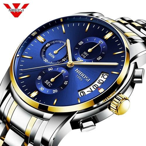 Relógio Nibosi Masculino Original 2353 Cronógrafo Luxo Azul