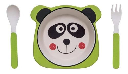 Kit Alimentação Refeição Bebe Infantil Eco Prato +2 Talheres