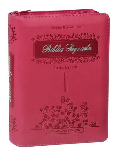 Bíblia Sagrada Letra Grande Feminina Índice Zíper 16 Cm
