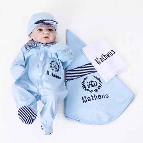 Bodie Saída Maternidade Menino Personalizada Príncipe Azul