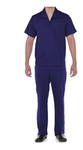 Conjunto Brim Calça E Camisa Manga Curta Uniforme Trabalho
