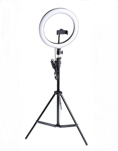 Ring Light Led Circular Completo Iluminador Portátil 26cm Com Tripé 1,6m