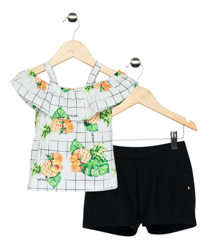 Conjunto Kids Menina Blusa Ciganinha E Shorts Quimby