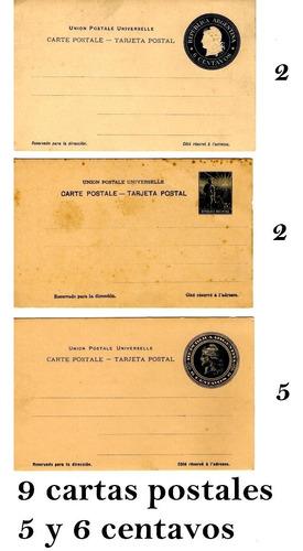 9 Cartas Postales Sin Circular 5 Y 6 Centavos Año 1890 Aprox