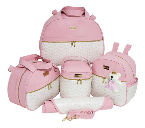 Bolsa Maternidade Kit Completo Menina Menino Zigzag