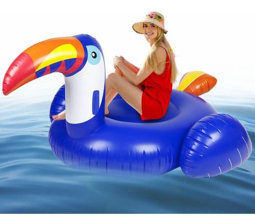 Flotador Lujoso Azul Tucán Piscina Con Válvulas Rápidas