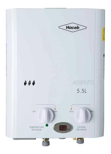 Calentador A Gas De Paso Haceb 5.5lt Tn Gn Auto Color Blanco