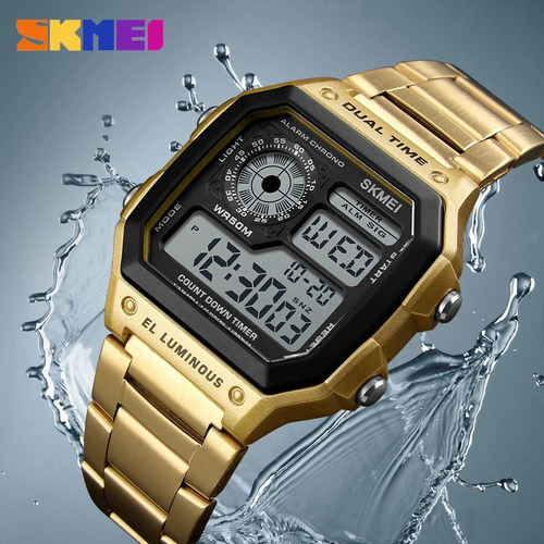 Relógio Digital Dourado Skmei 1335 A Prova D'água
