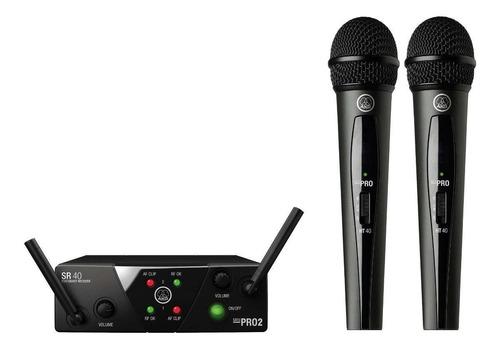 Micrófonos Inalámbricos Akg Wms40 Mini Dual Vocal Set Dinámico Cardioide Negros