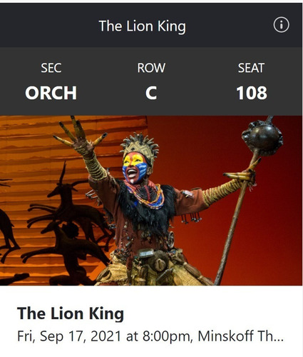 Ingresso Broadway The Lion King (new York) 17/09/2021