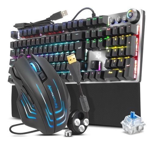 Kit Teclado Mecânico Switch Blue E Mouse Gamer 6400dpi Rgb