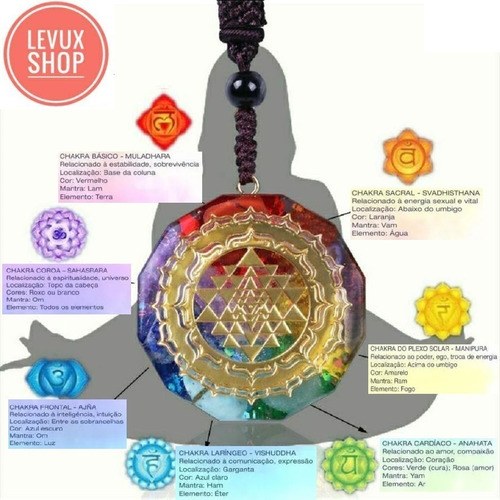 Colar Pingente Organite 7 Chakras 7 Pedras Naturais