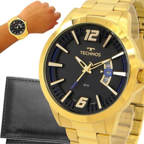 Relógio Masculino Dourado Technos Ouro 18k Carteira Brinde