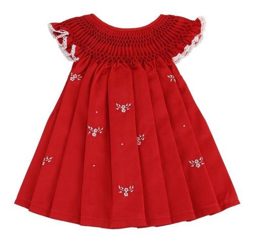 Vestido Casinha De Abelha Fustão Vermelho Bordado