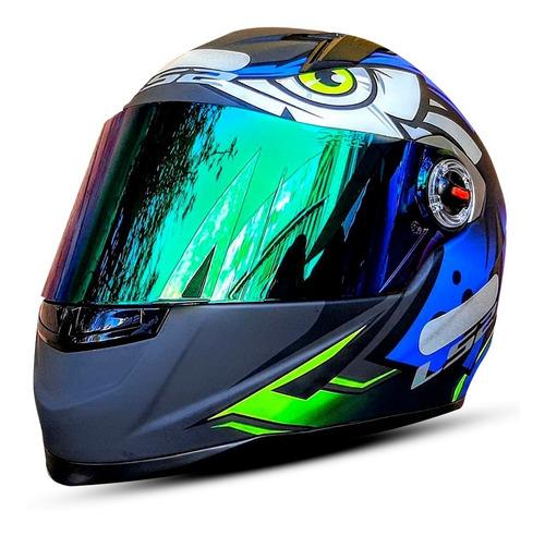 Capacete Fechado Moto Ls2 Ff358 Tribal Preto Fosco Azul