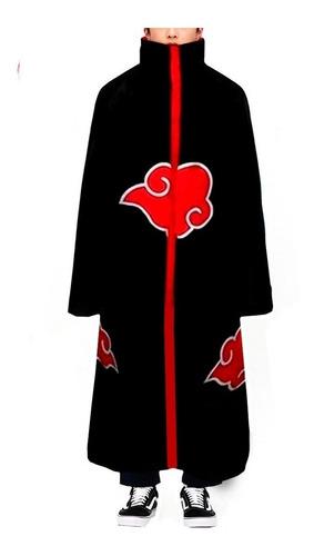 Capa Manto Akatsuki Naruto Cosplay Fantasia Itachi - Ziper