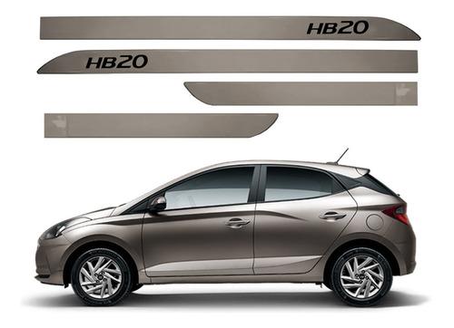 Jogo Friso Lateral Facão Hyundai Hb20 2020 2021 Prata Sand