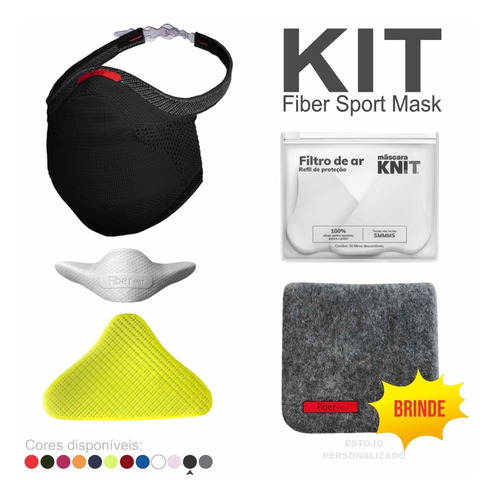 Kit Máscara Fiber Knit + Acessórios + Brinde Estojo