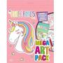 Livro Mega Art Pack Unicornios Com Adesivos E Lapis De Cor