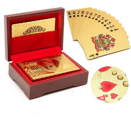 Baralho Dourado Folheado Ouro 24k + Caixa Luxo + Certificado