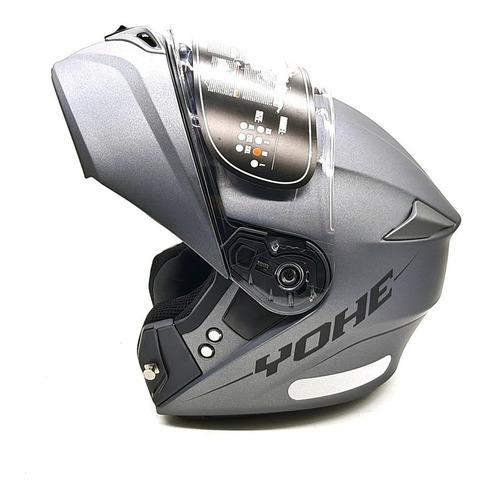 Capacete Moto Articulado Robocop Yohe Pratik Titanium Fosco