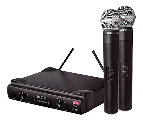 Microfones Sem Fios Le Son Ls902 Ht/ht Dinâmico  Cardióide E Unidirecional Preto