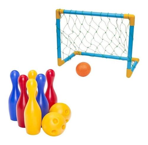 Jogo De Boliche Infantil C/ 2 Bolas 16cm + Trave De Futebol