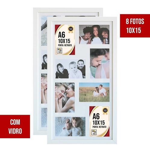 Kit 2 Quadros Painéis Multifotos 8 Fotos 10x15 C/ Vidro Sala