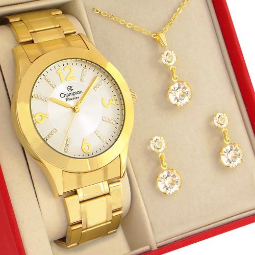 Relógio Champion Feminino Prata E Dourado Com Colar E Brincos Brinde Prova D'água Com 1 Ano De Garantia E Nota