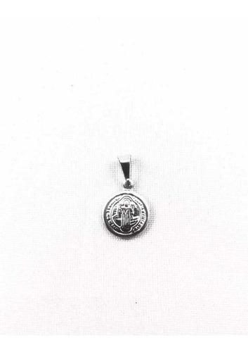 Medalhinha São Bento Aço Inox Medalha Imagem Cruz Sagrada