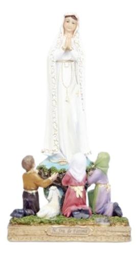 Imagem Nossa Senhora De Fátima Com Os 3 Pastores Em Resina.