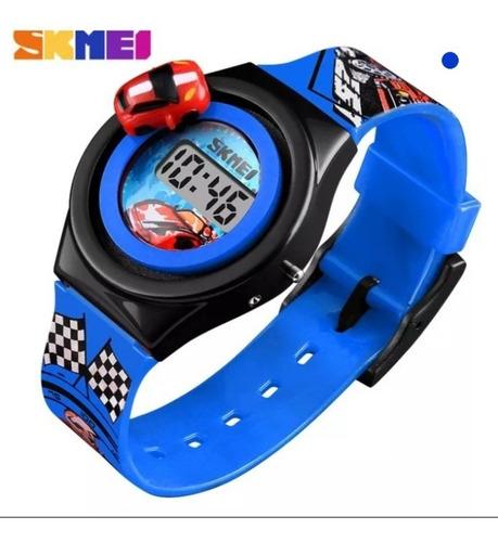 Relógio Infantil Digital Skmei 1376 Corrida De Carro Barato