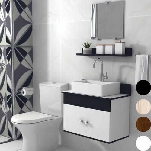 Gabinete Armário Banheiro Com Espelho Cuba 60cm Sevilha Msqd