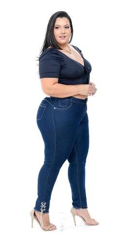 Calca Jeans Feminina Plus Size Cintura Alta Com Lycra Strech