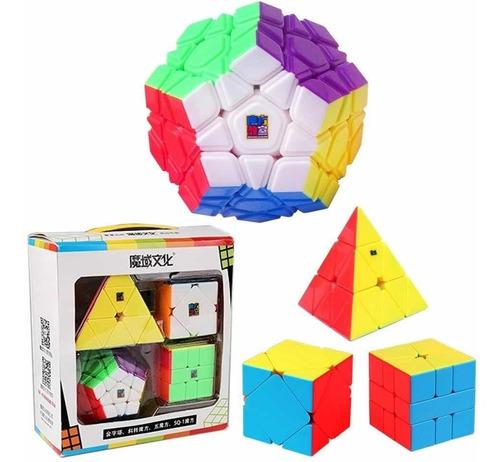 Box Cubo Mágico Moyu. Megaminx + Pyraminx+square-1 + Skewb