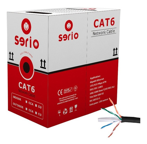 Cable Utp Cat 6 Exterior Cca Para Cctv O Redes Caja 100 Mts