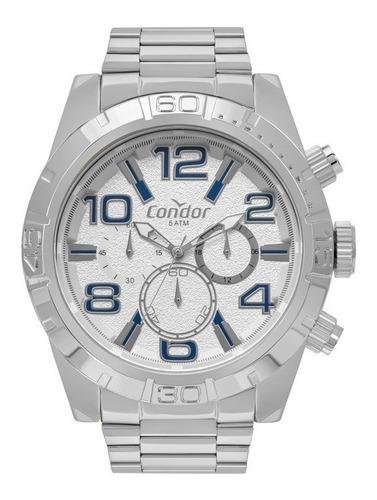 Relógio Condor Masculino Dourado Branco Azul Civic Dual Time