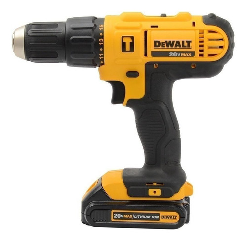 Furadeira Elétrica De Impacto E Parafusadeira Dewalt Dcd776c2 Sem Fio 1500rpm 300w Amarelo 220v 20v