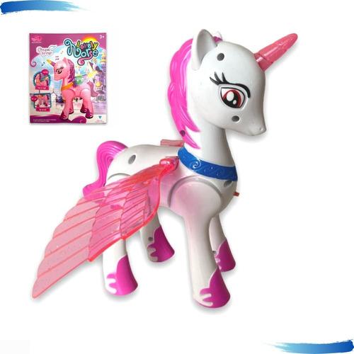 Unicórnio Cavalo Pony C/ Azas Anda Som/luz My Little Horse