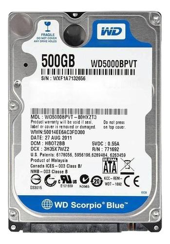 Disco Rígido Interno Western Digital Wd Scorpio Blue Wd5000bpvt 500gb Azul
