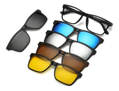 Armação De Óculos Sem Grau 5 Lentes Magnética Barato Uv400