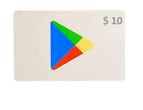 Tarjeta Gift Card Google Play 10 Store Usa