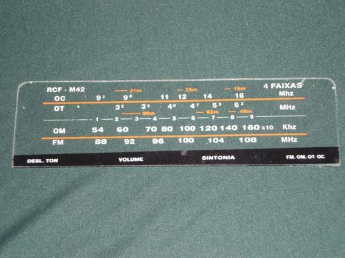Dial  De Vidro Do Rádio Motorádio - Rcf 42 - 4 Faixas