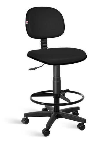 Cadeira Caixa Alta Secretária Couro Eco Rodízios