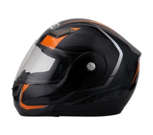 Capacete Helt Hippo Faster Preto/laranja Articulado 58 60